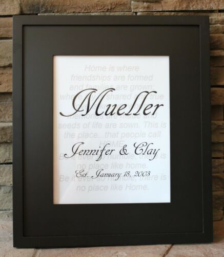 """Wedding or Annivesary Gift Wall Art ~ Made to Order 11/"""" x 14/"""" w// Black Mat"""