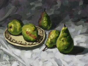 Original-Fruit-Still-Life-Painting-034-Pears-034-9-x-12-inch-by-John-Wallie