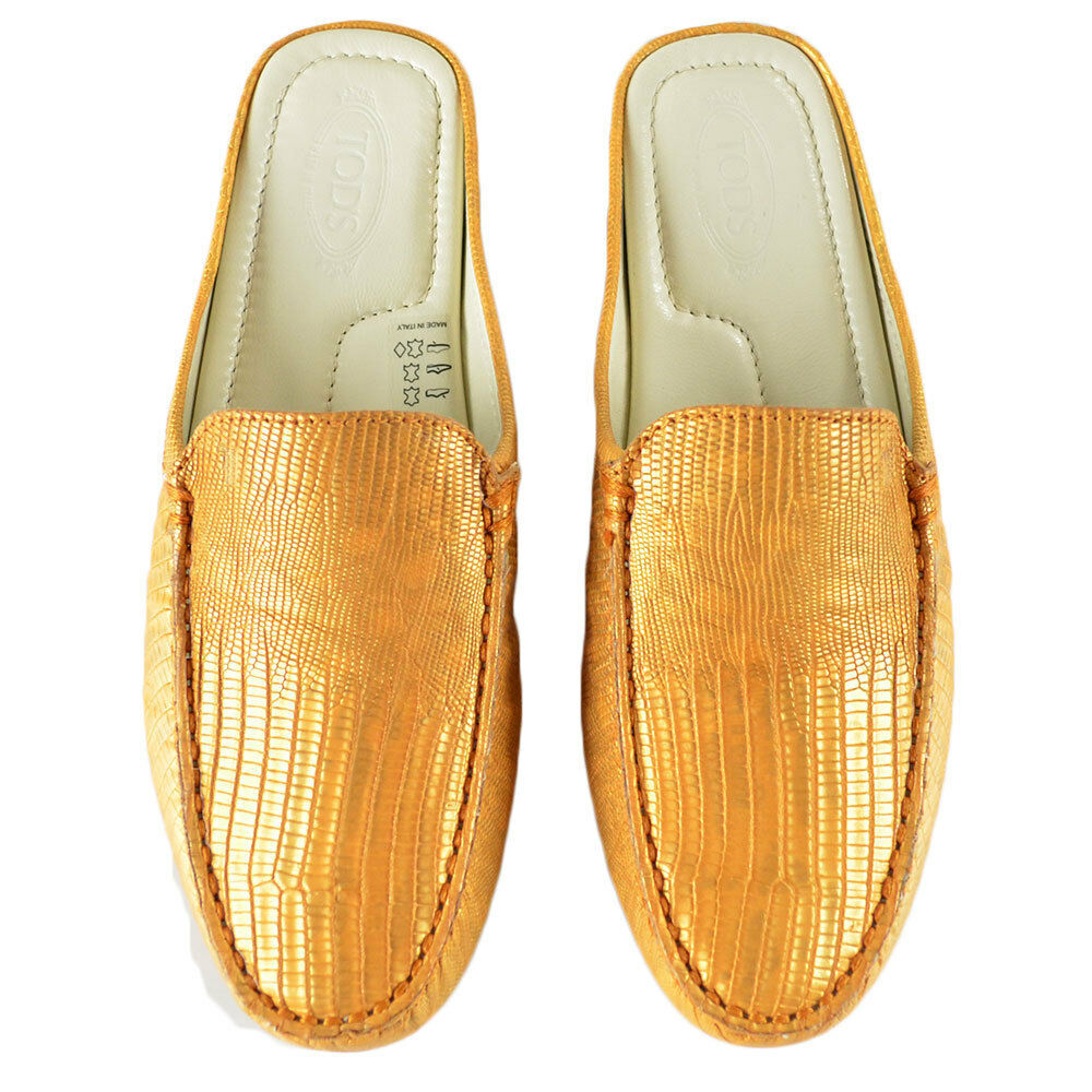 7d44cc7c5aa Tod s Women s Luxor Croc Leather Backless Loafers Gold Size 6 for ...