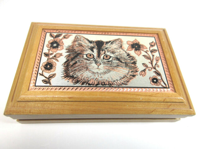 Vintage Kitty Cat Wood Trinket Jewelry Box Etched Metal Hinged Lid Velvet Lined