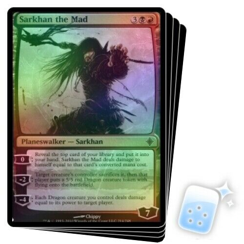 FOIL SARKHAN THE MAD X4 Mystery Booster Planeswalker Magic MTG MINT CARD