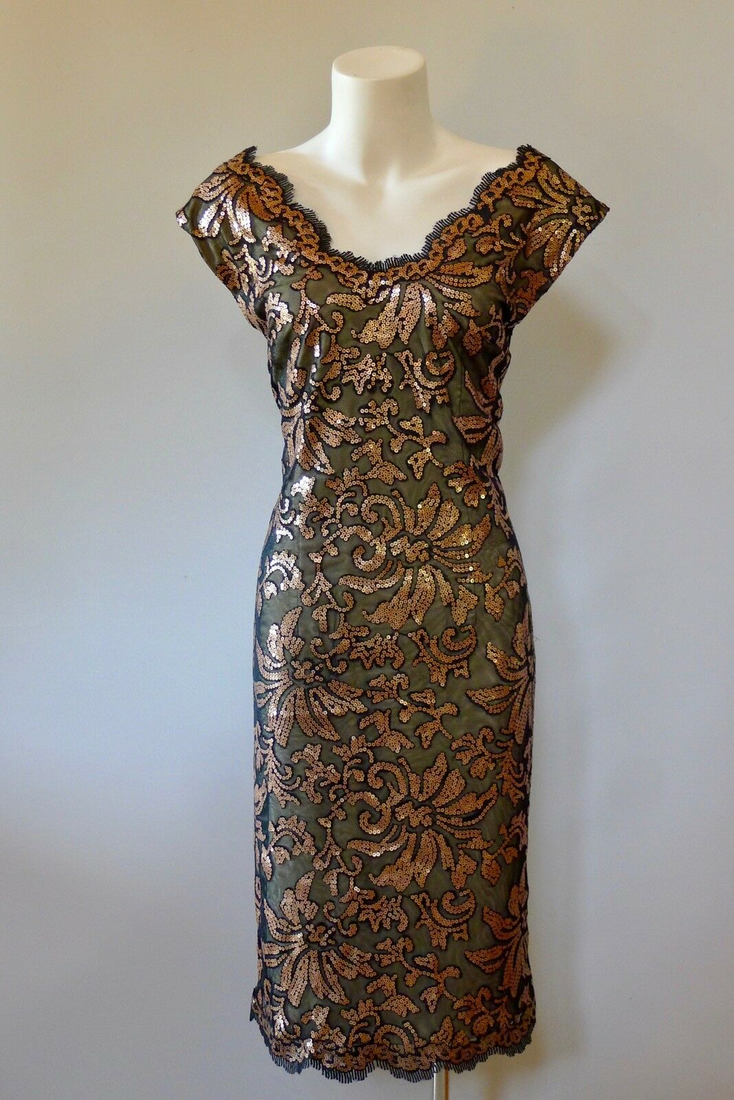 Chelsea 12 M  NWOT unused schwarz Gold beaded formal party dress 50s style  mint