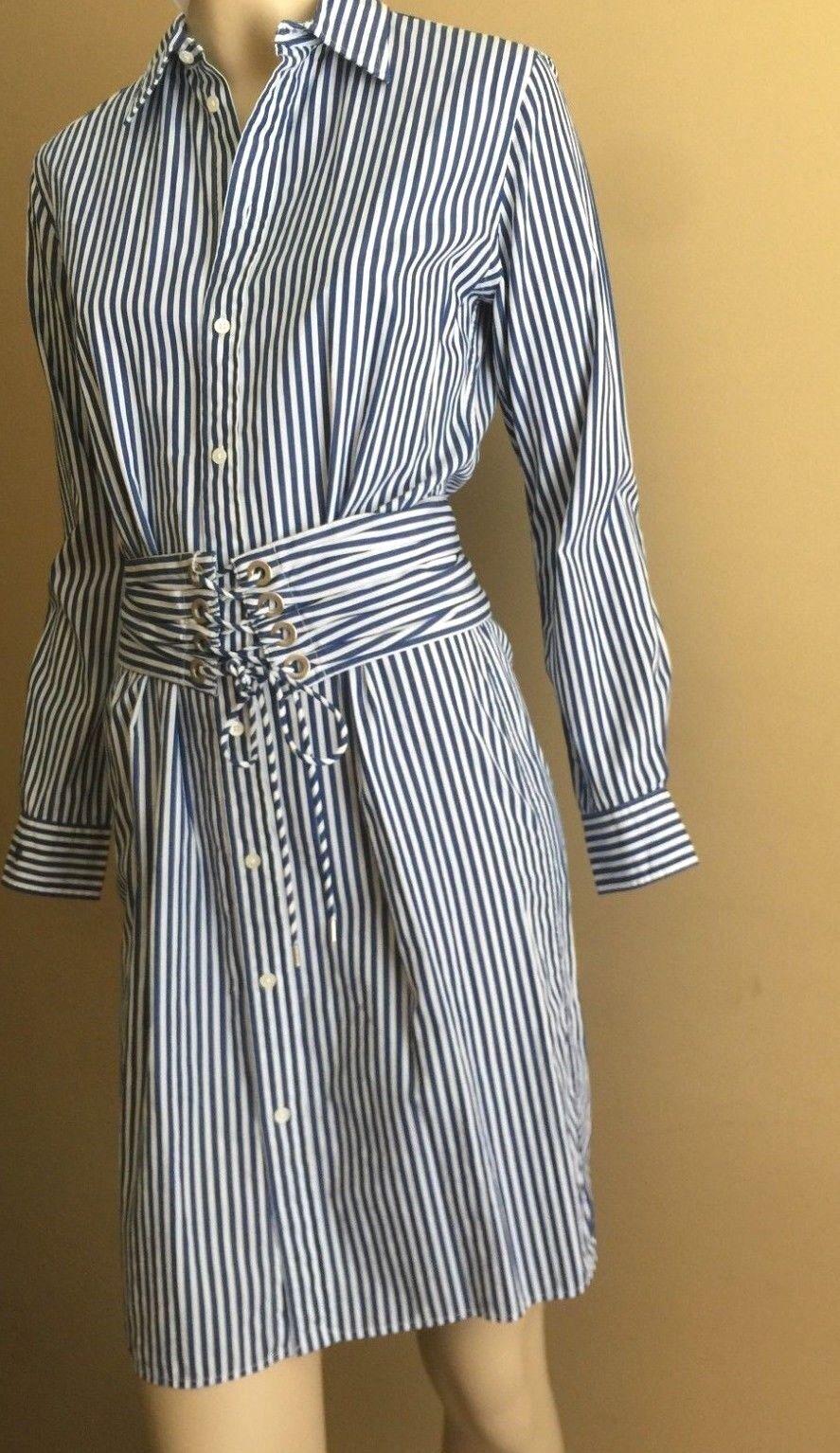 Polo Ralph Lauren blå vit Stripped Cotton Lace -Up Waist Shirtdress 2