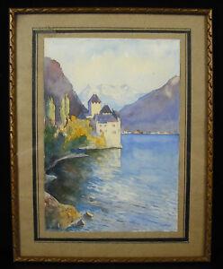 Brillant Aquarelle Signée M.h.d Château De Chillo Lac Léman à Veytaux Suisse Suizerland