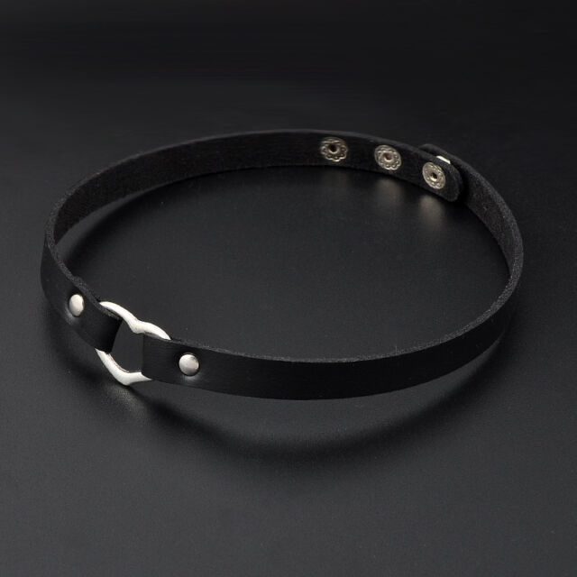 COOL Women Favorite Goth Leather Rivet Heart Ring Collar Choker Funky Necklace