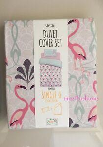 Image Is Loading Primark Pink Flamingo Duvet Cover Set Single Bed