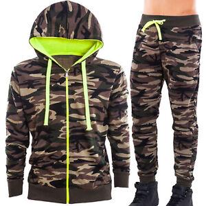 Tuta-uomo-felpa-pantaloni-felpati-militare-mimetica-cappuccio-zip-sportiva-S6795