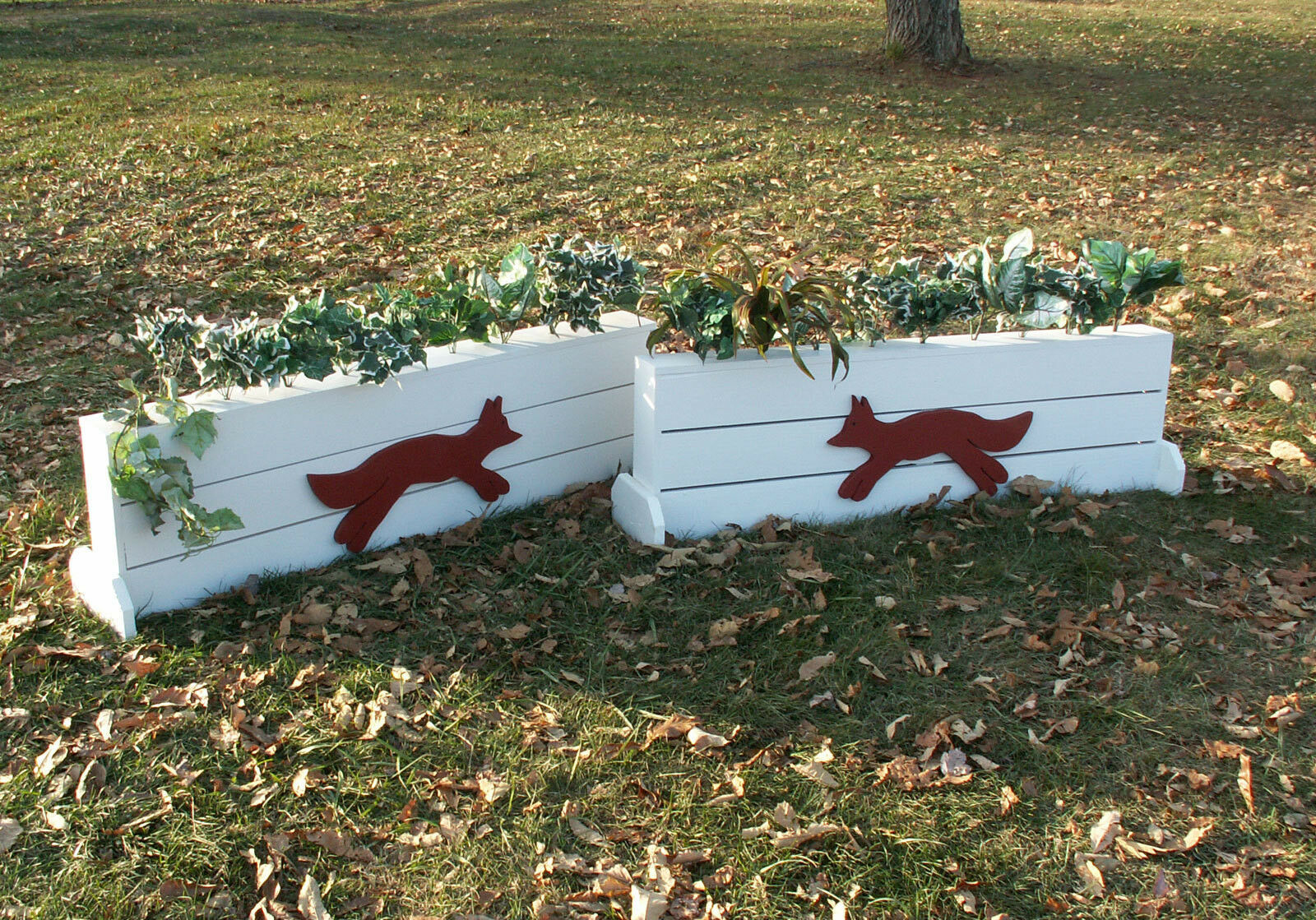 Horse Jumps  Wooden Plank Fox Brush Box 24 x5ft - Set 2 - White Red Fox  more discount