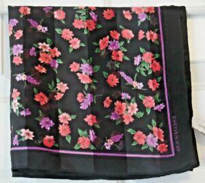 TERRIART-Coral-amp-Purple-Floral-w-Black-Bkgrd-20-034-Sq-Scarf-Vintage-JONES-NEW-YORK