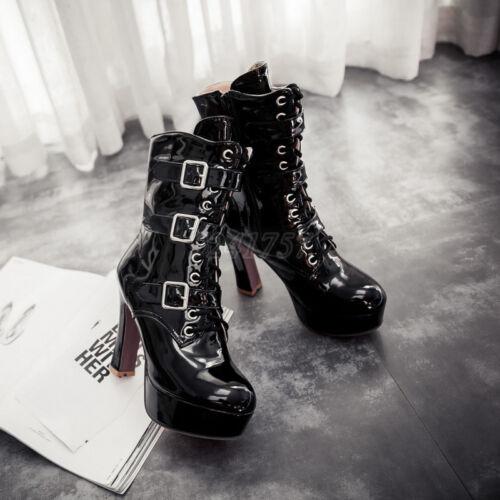 Mode Damen Schuhe Stiefel Stiefeletten Wadenhohe Stiefel Lackleder Neu Gr:33-43