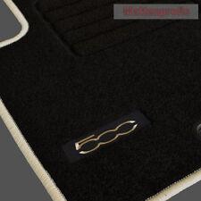 Velours Logo Fußmatten für Fiat 500 + 500 C Cabrio ab Bj.2007 - 2013 crema