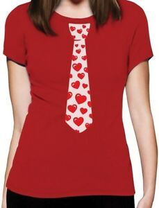 Red-Hearts-Tie-for-Valentine-039-s-Day-Love-Women-T-Shirt-Gift