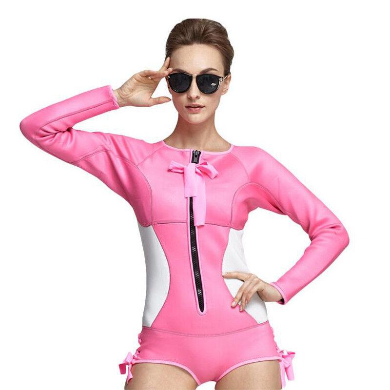 Pink One Piece Long Sleeve 2MM Neoprene Women's Wetsuits Diving Surfing Swimwear