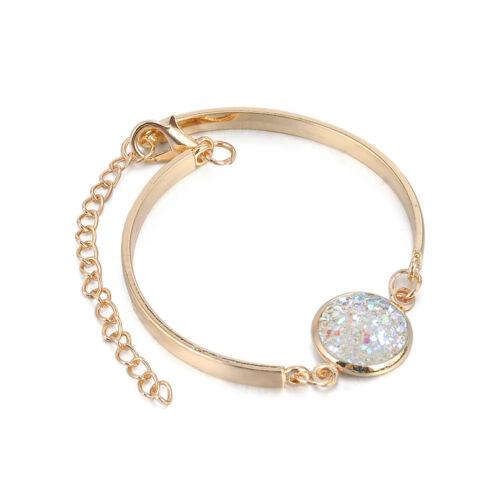 Women Druzy Natural Geode Stone Bangles Rhinestone Pave Bracelet Jewelry Gift