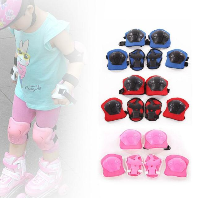 Kids Children 6pcs Roller Skating Knee Elbow Wrist Protective Pad Gear gift TE