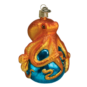 Octopus-034-12129-X-Old-World-Christmas-Glass-Ornament-w-OWC-Box