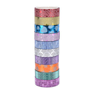 10x-DIY-Self-Adhesive-Glitter-Washi-Masking-Tape-Sticker-Craft-Decor-15mmx3m-GT