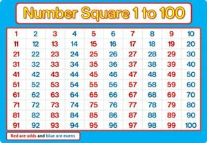 Image Is Loading A4 Number Square 1 100 Laminated Blue And