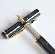 Baoer #801 Aurora Borealis Fine Fountain Pen F Nib Gold Trim Black Ink - UK