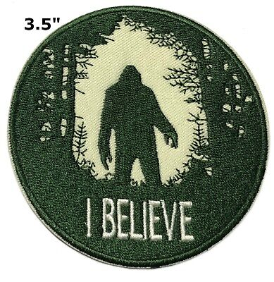 Sasquatch in the Forest Hook Backing I BELIEVE Applique Bigfoot Lives Patch