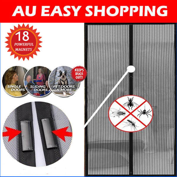Black Magnetic Fly Screen Magic Magna Mosquito Bug Mesh Door Curtains Modern A