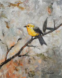 Original-Acrylic-painting-Canvas-Bird-Art-Yellow-song-Bird-by-Hunoz-20-x-16-034