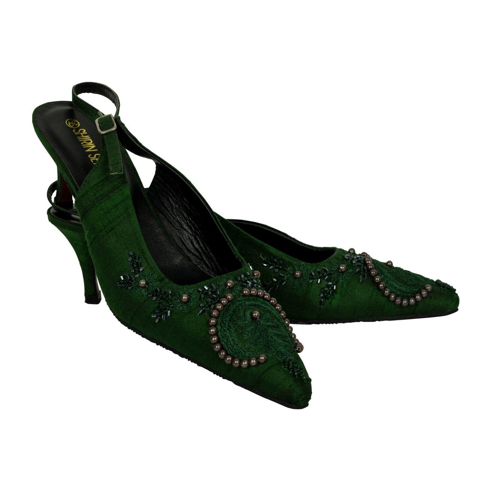 Pumps Grün Seide Besteickt High Heel 6 cm  40, Abendschuhe  Slingback Riemen