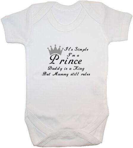 Its Simple I/'m a Prince..Baby Grow Bodysuit Vest Romper Newborn-24m Funny Unisex