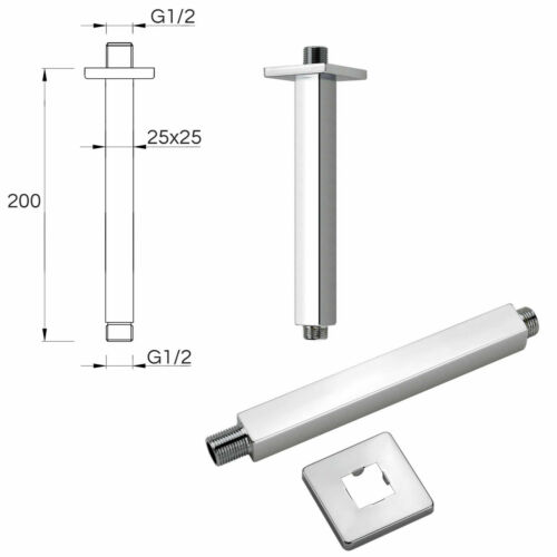 """Chrome Concealed Shower Set SUS 304 8/"""" Rain Rose Head Brass Wall Ceiling Arm"""