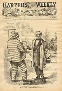 Details About Th Nast Political Cartoon Boss Tweed Tilden Vintage 1879 Antique Print