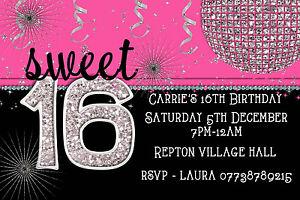Image Is Loading Personalised 034 Sweet 16 Sixteen Pink Girl