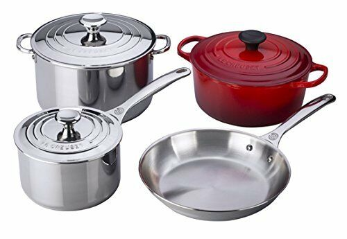 Le Creuset 7-Piece Stainless Steel & Enameled Cast Iron Cookware Set Cherry Red