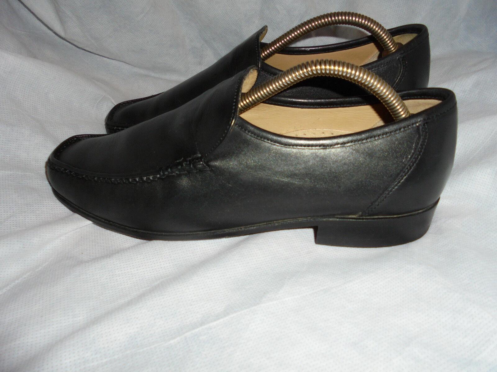 Los últimos zapatos de descuento para hombres y mujeres Baker para hombres Cuero Negro Sin Cordones Mocasín Zapatos Talla en muy buena condición