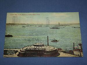 VINTAGE 1912  OLD SHIPS BOATS UPPER BAY BATTERY PARK   NEW YORK   POSTCARD