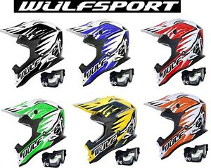 motorradhelm wulfsport motocross quad mx cross helm enduro rennnhelm mit brille ebay. Black Bedroom Furniture Sets. Home Design Ideas