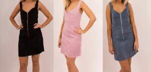 New-Women-Corduroy-Pinafore-Navy-Dungaree-Bib-Skater-A-Line-Mini-Dress-8-14-UK