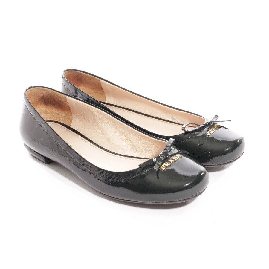 PRADA Ballerinas Gr. D 37 Grün Damen Schuhe Flats Halbschuhe Lackleder Shoes
