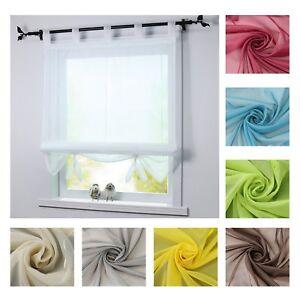 Details zu Raffrollo Küche Raffgardine Weiß Fenstergardine Modern 60 80 100  120 140 Voile