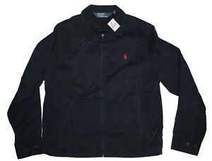 Polo-Ralph-Lauren-Mens-Navy-Zip-Pony-Logo-Bayport-Cotton-Windbreaker-Jacket-M