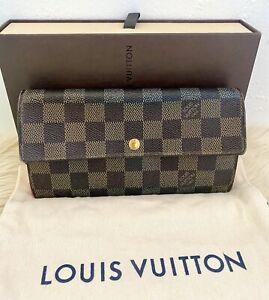 EUC-100-Authentic-Louis-Vuitton-Damier-Porte-Feuille-Sarah-Long-Bifold-Wallet