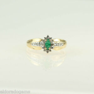 MARQUISE-EMERALD-amp-0-40-CT-DIAMOND-COCKTAIL-RING-14K-YELLOW-WHITE-GOLD-US7-25