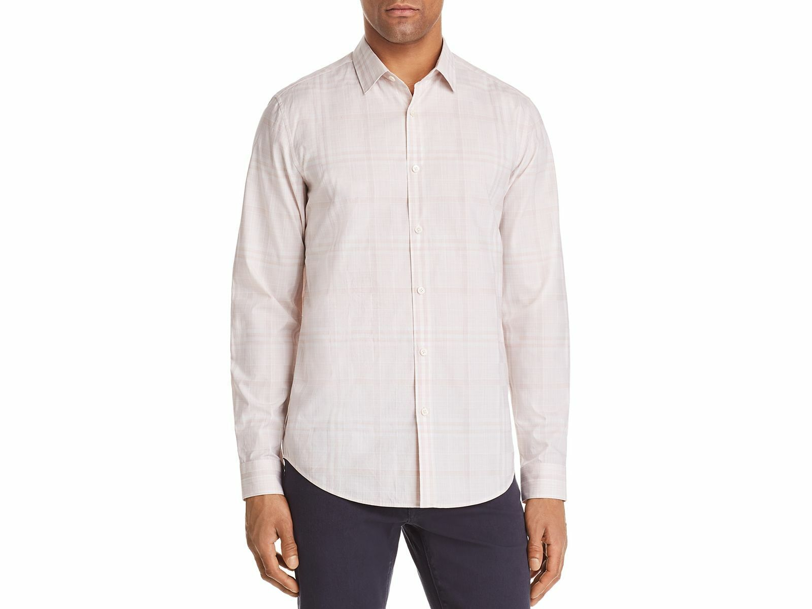 THEORY Men's SLIM-FIT PINK WHITE PLAID LONG-SLEEVE BUTTON TOP SPORT SHIRT M