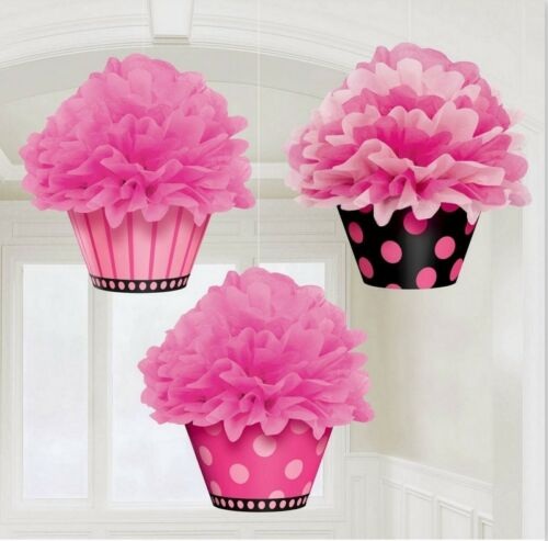 Deluxe Fluffy Cupcake Hanging Decorations Package of 3 180007
