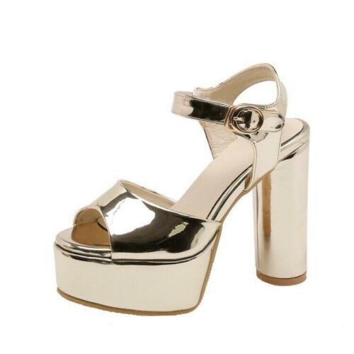 Women/'s Patent Leather 12cm Chunky High Heels Peep Toe Platform Sandals Shoes