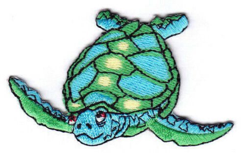 -Iron On Embroidered Applique-Sea Creatures GREEN /& BLUE Beach SEA TURTLES 3/""