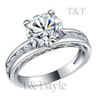 TTstyle 18K White Gold Plated with Engraved lace Engagement Wedding Ring
