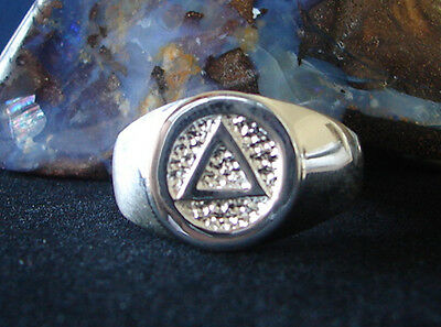 Sterling Silver High Polish Alcoholic Anonymous  AA Symbol Ring Jewelry 090