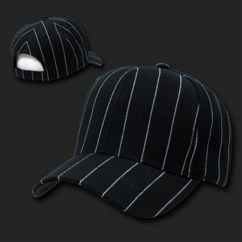 Black Pinstripe Pin Stripe Striped Blank Solid Baseball Ball Cap Hat Caps Hats