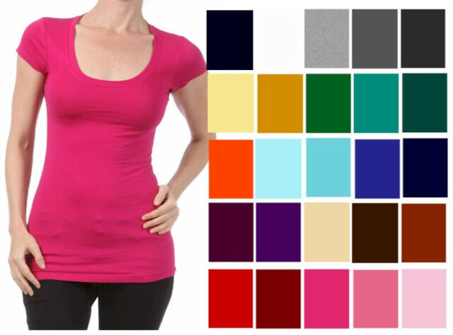 T SHIRT Scoop Short Sleeve Basic STRETCH *ZENANA* Misses/Plus S/M/L/XL/1X/2X/3X