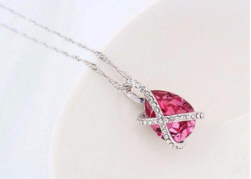 18k Calidad Chapado en Oro Blanco Rosa Gota Colgante Rosa 16-18 Pulgadas Cadena Collar X